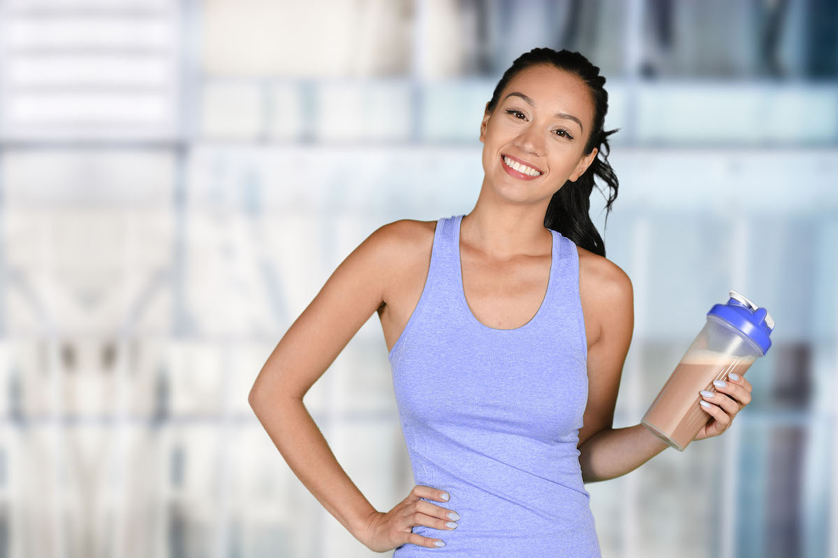 Woman with collagen protein peptide